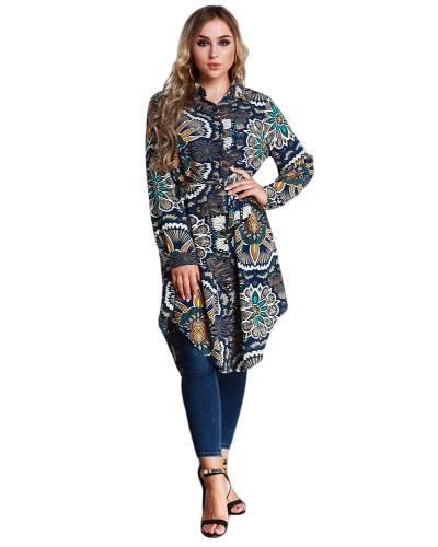 Nuevas mujeres de la moda de largo camisa de impresión floral blusa Turn-down Collar de manga larga asimétrico vestido de camisa hem azul oscuro