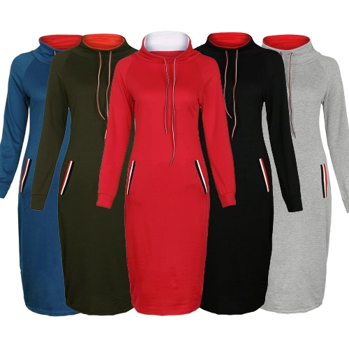 Autumn Winter Women Hoody Dress High Neck Long Sleeves Solid Warm Slim Bodycon Midi DressApparel &amp; Jewelry<br>Autumn Winter Women Hoody Dress High Neck Long Sleeves Solid Warm Slim Bodycon Midi Dress<br>