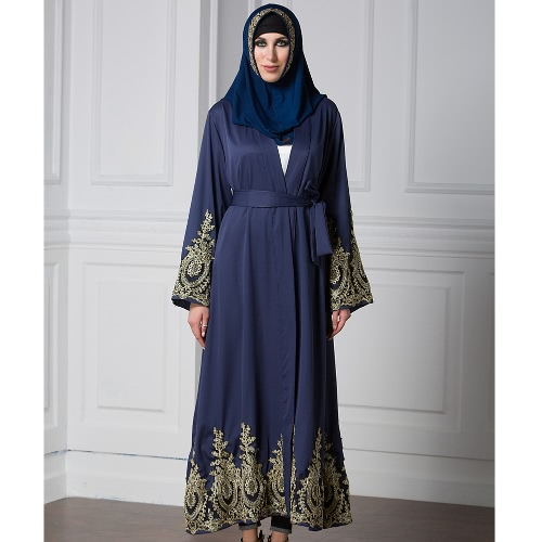 Women Muslim Robe Cardigan Lace Bell Long Sleeves Front Open Belted Long Loose Abaya Dress Plus SizeApparel &amp; Jewelry<br>Women Muslim Robe Cardigan Lace Bell Long Sleeves Front Open Belted Long Loose Abaya Dress Plus Size<br>