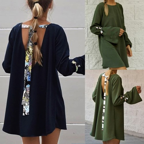 Sexy Women Loose Mini Dress Backless Bandages O-Neck Flare Long Sleeves Elegant Party DressesApparel &amp; Jewelry<br>Sexy Women Loose Mini Dress Backless Bandages O-Neck Flare Long Sleeves Elegant Party Dresses<br>