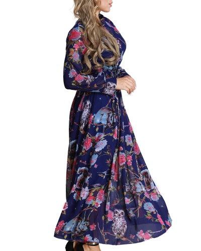 Women Floral Long Dress Chiffon Long Sleeves Button Front A-Line Maxi Dress Plus Size VestdiosApparel &amp; Jewelry<br>Women Floral Long Dress Chiffon Long Sleeves Button Front A-Line Maxi Dress Plus Size Vestdios<br>