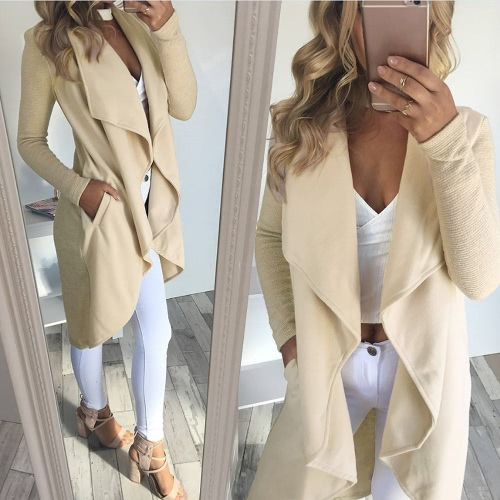 Women Coat Solid Open Front Waterfall Drape Pockets Ribbed Sleeves Casual Warm Outerwear OvercoatApparel &amp; Jewelry<br>Women Coat Solid Open Front Waterfall Drape Pockets Ribbed Sleeves Casual Warm Outerwear Overcoat<br>