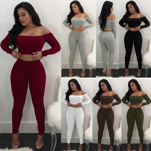 Sexy Women Two Piece Set Crop Top Leggings Solid Ribbed Off Shoulder High Waist Slim Club WearApparel &amp; Jewelry<br>Sexy Women Two Piece Set Crop Top Leggings Solid Ribbed Off Shoulder High Waist Slim Club Wear<br>