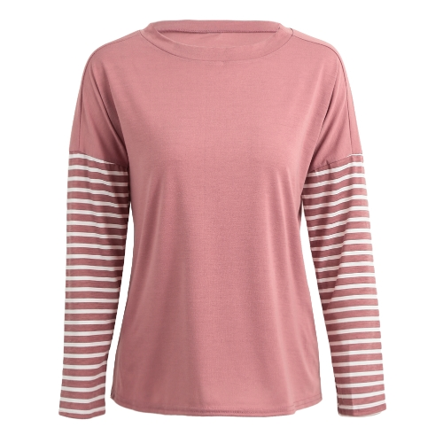 Fashion Women Striped Blouse Long Sleeve O-Neck Casual Loose Autumn T-Shirt Tops PinkApparel &amp; Jewelry<br>Fashion Women Striped Blouse Long Sleeve O-Neck Casual Loose Autumn T-Shirt Tops Pink<br>