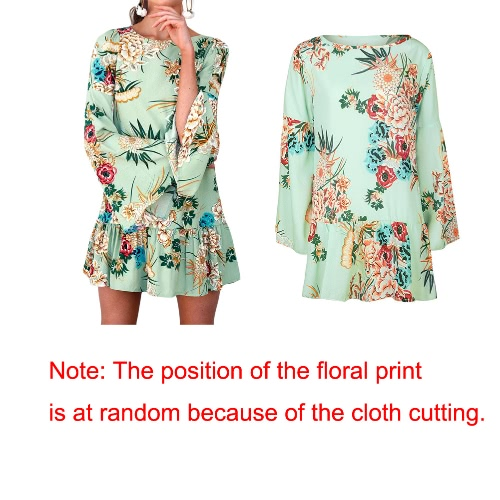 New Vintage Women Floral Print Mini Dress Flared Sleeve Ruffle Hem Round Neck Party Casual Dress GreenApparel &amp; Jewelry<br>New Vintage Women Floral Print Mini Dress Flared Sleeve Ruffle Hem Round Neck Party Casual Dress Green<br>