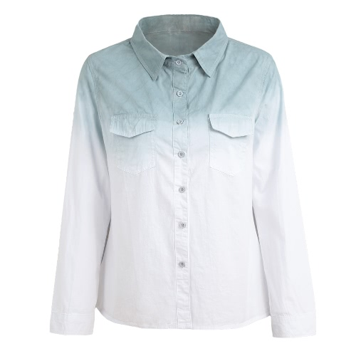 Fashion Women Ladies Shirt Gradient Color Long Sleeve Turn-Down Collar Casual Blouse Streetwear Tops Grey/Pink/BlueApparel &amp; Jewelry<br>Fashion Women Ladies Shirt Gradient Color Long Sleeve Turn-Down Collar Casual Blouse Streetwear Tops Grey/Pink/Blue<br>