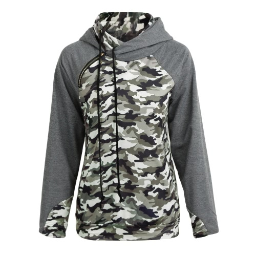 Women Camo Hooded Sweater Camouflage Splice Long Sleeves Zipper Pockets Casual Hoodies TopApparel &amp; Jewelry<br>Women Camo Hooded Sweater Camouflage Splice Long Sleeves Zipper Pockets Casual Hoodies Top<br>