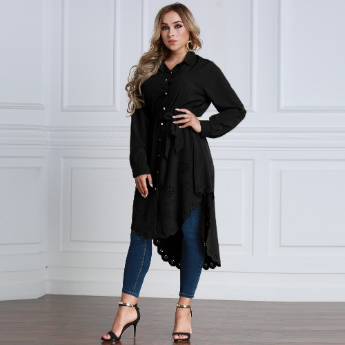 Fashion Women Plus Size Burning Flowers Long Sleeve Shirt Hollow Out Irregular Belted Shirt Blouse TopsApparel &amp; Jewelry<br>Fashion Women Plus Size Burning Flowers Long Sleeve Shirt Hollow Out Irregular Belted Shirt Blouse Tops<br>