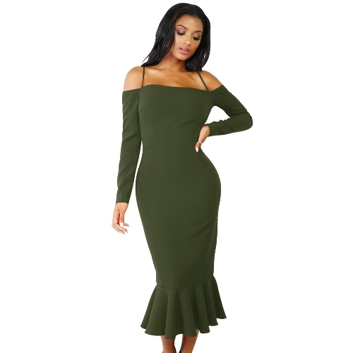 Women Mermaid Dress Long Sleeves Off Shoulder Spaghetti Strap Party Bandage Midi Dress Trumpet VestdiosApparel &amp; Jewelry<br>Women Mermaid Dress Long Sleeves Off Shoulder Spaghetti Strap Party Bandage Midi Dress Trumpet Vestdios<br>