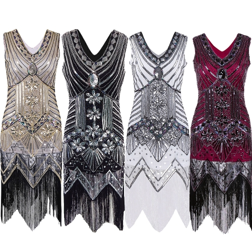 Women Dress Sequined Beading Tassel Fringe V Neck Sleeveless Bodycon Party Clubwear One-PieceApparel &amp; Jewelry<br>Women Dress Sequined Beading Tassel Fringe V Neck Sleeveless Bodycon Party Clubwear One-Piece<br>