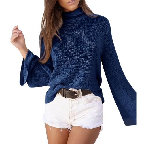 Women Long Horn Sleeve Turtleneck SweaterApparel &amp; Jewelry<br>Women Long Horn Sleeve Turtleneck Sweater<br>
