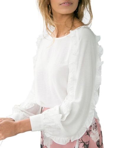 Women Loose Blouse Solid Color Ruffle Round Neck Long Raglan Sleeve Casual Pullover Tops WhiteApparel &amp; Jewelry<br>Women Loose Blouse Solid Color Ruffle Round Neck Long Raglan Sleeve Casual Pullover Tops White<br>