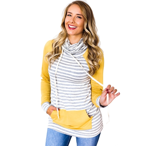 Women Hoodie Striped Drawstring Pocket Elbow Patch Long Sleeve Casual Pullover Sweatshirt Pink/YelllowApparel &amp; Jewelry<br>Women Hoodie Striped Drawstring Pocket Elbow Patch Long Sleeve Casual Pullover Sweatshirt Pink/Yelllow<br>