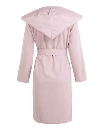 Autumn Winter Women Hooded Coat Belted Long Sleeve Pockets Casual Jackets Solid Overcoat Outerwear PinkApparel &amp; Jewelry<br>Autumn Winter Women Hooded Coat Belted Long Sleeve Pockets Casual Jackets Solid Overcoat Outerwear Pink<br>