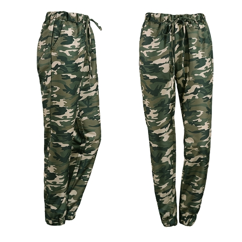Fashion Women Long Pants Camouflage Print Elastic Waist Casual Camo Trousers GreenApparel &amp; Jewelry<br>Fashion Women Long Pants Camouflage Print Elastic Waist Casual Camo Trousers Green<br>