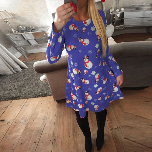 Women Christmas Print Dress Elk Snowflake Long Sleeve Casual Autumn Winter A-Line Party DressApparel &amp; Jewelry<br>Women Christmas Print Dress Elk Snowflake Long Sleeve Casual Autumn Winter A-Line Party Dress<br>
