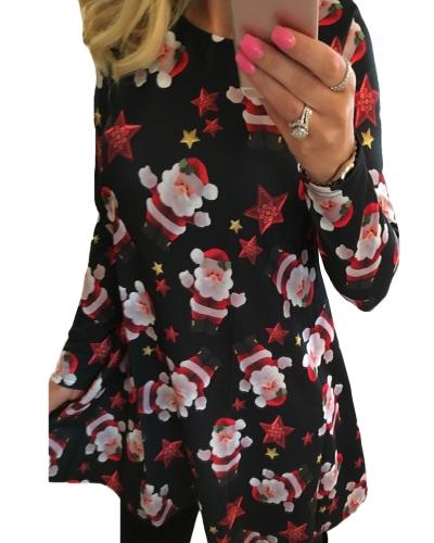 Women Christmas Print Dress Elk Snowflake Long Sleeve Casual Autumn Winter A-Line Party DressApparel &amp; Jewelry<br>Women Christmas Print Dress Elk Snowflake Long Sleeve Casual Autumn Winter A-Line Party Dress<br>