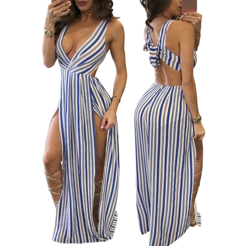 Sexy Long Summer Dress Women Maxi Dress Striped Deep V-Neck High Splits Backless Clubwear Club Party Dress Blue/KhakiApparel &amp; Jewelry<br>Sexy Long Summer Dress Women Maxi Dress Striped Deep V-Neck High Splits Backless Clubwear Club Party Dress Blue/Khaki<br>