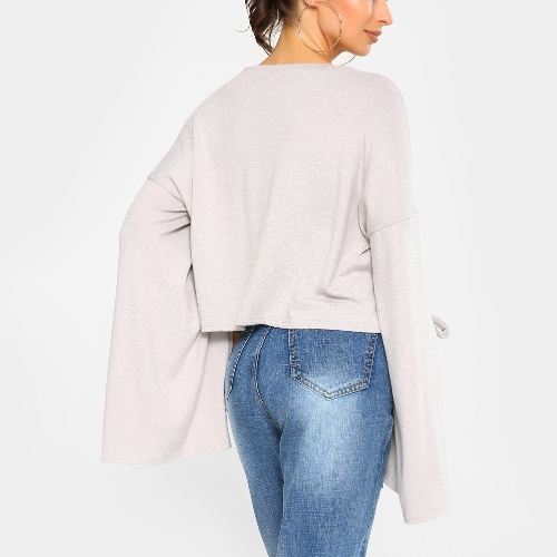 New Fashion Women Autumn Winter Crop Top Round Neck Strappy Slit Sleeves Solid Color Cropped T-ShirtApparel &amp; Jewelry<br>New Fashion Women Autumn Winter Crop Top Round Neck Strappy Slit Sleeves Solid Color Cropped T-Shirt<br>