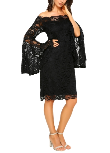 New Sexy Women Floral Lace Midi Dress Slash Neck Flare Sleeve Elegant Party Club Bodycon Dress Black/WhiteApparel &amp; Jewelry<br>New Sexy Women Floral Lace Midi Dress Slash Neck Flare Sleeve Elegant Party Club Bodycon Dress Black/White<br>