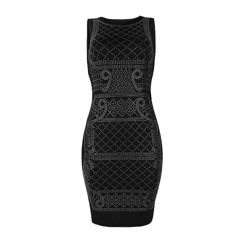 Sexy Women Rhinestone Midi Dress O-Neck Sleeveless Bodycon Nightclub Party Pencil Dress Gold/SilverApparel &amp; Jewelry<br>Sexy Women Rhinestone Midi Dress O-Neck Sleeveless Bodycon Nightclub Party Pencil Dress Gold/Silver<br>