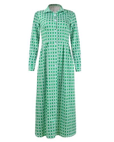 Women Shirt Dress Printed High Waist Split Turn Down Collar Long Sleeve Pockets Buttons Maxi One-Piece