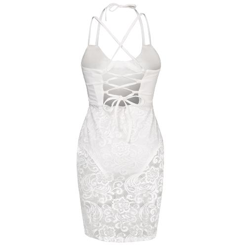 Sexy Women Lace Strappy Back Midi Dress Deep V Neck Bodysuit Lining Party Club Evening Bodyocn Dress