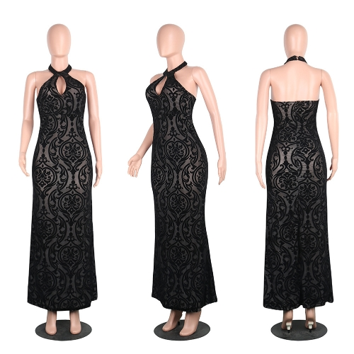 New Sexy Women Elegant Bodycon Maxi Dress Halter Floral Mesh Backless Cutout Sleeveless Cocktail Evening Party DressApparel &amp; Jewelry<br>New Sexy Women Elegant Bodycon Maxi Dress Halter Floral Mesh Backless Cutout Sleeveless Cocktail Evening Party Dress<br>