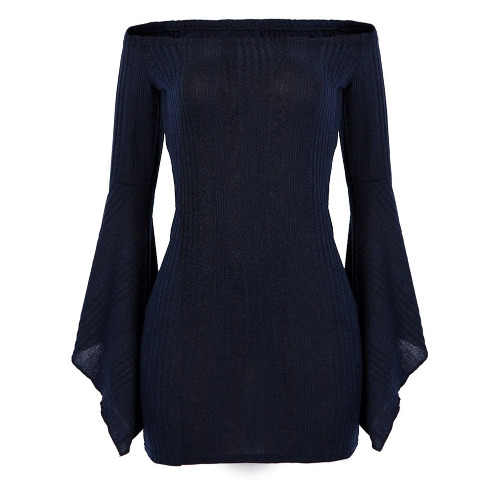 Fashion Women Knitted Dress Off Shoulder Slash Neck Bodycon Sheath Pack Hip Club Dress Dark BlueApparel &amp; Jewelry<br>Fashion Women Knitted Dress Off Shoulder Slash Neck Bodycon Sheath Pack Hip Club Dress Dark Blue<br>