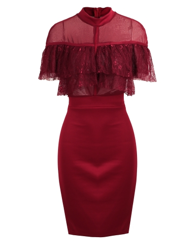 Sexy Women Sheer Mesh Lace Ruffle Bodycon Dress Turtle Neck Short Sleeve Party Club Midi Dress Black/BurgundyApparel &amp; Jewelry<br>Sexy Women Sheer Mesh Lace Ruffle Bodycon Dress Turtle Neck Short Sleeve Party Club Midi Dress Black/Burgundy<br>