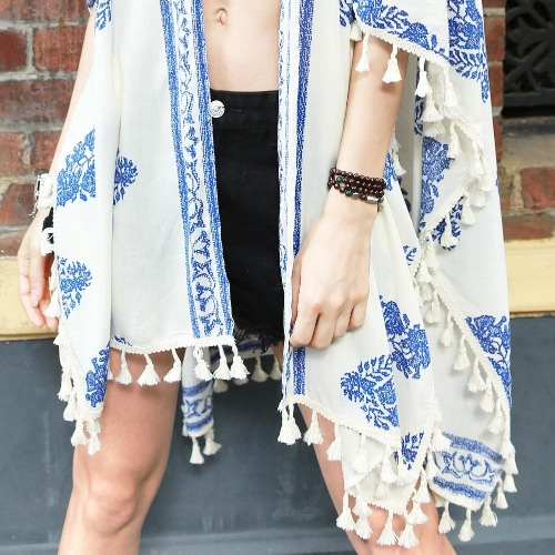 New Women Kimono Cardigan Print Tassel Fringe Casual Poncho Shawl Cape Cover Up Tops BeigeApparel &amp; Jewelry<br>New Women Kimono Cardigan Print Tassel Fringe Casual Poncho Shawl Cape Cover Up Tops Beige<br>