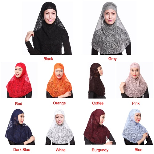 New Fashion Full Cover Muslim Hijab Two Piece Set Lace Solid Islamic Turban Cap BeaniesApparel &amp; Jewelry<br>New Fashion Full Cover Muslim Hijab Two Piece Set Lace Solid Islamic Turban Cap Beanies<br>