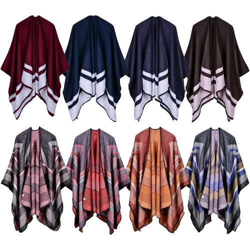 Women Poncho Scarf Cardigan Sweater Geometrical Striped Warm Cape Shawl Long Scarves Pashmina OutwearApparel &amp; Jewelry<br>Women Poncho Scarf Cardigan Sweater Geometrical Striped Warm Cape Shawl Long Scarves Pashmina Outwear<br>
