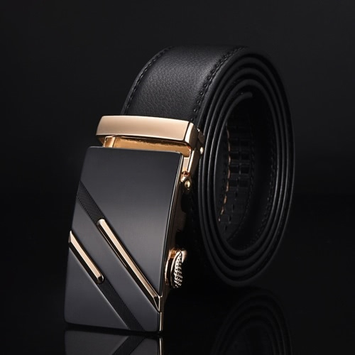 Fashion Modern Design Leather Strap Belt Business Casual Zinc Alloy Automatic Two Strips Pattern Buckle Male Trousers Leisure Waistband for Men Girdle Wide Waist
