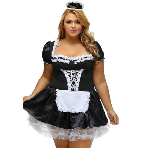 Sexy Women Plus Size Maid Costumes Erotic Lingerie Lace French Servant Cosplay Outfit Halloween Uniform BlackApparel &amp; Jewelry<br>Sexy Women Plus Size Maid Costumes Erotic Lingerie Lace French Servant Cosplay Outfit Halloween Uniform Black<br>
