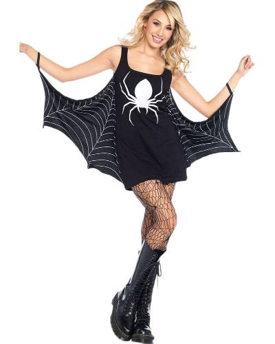 Halloween Costume Spider Dress Low Neck Papel Brincar Sexy Women's Mini Dress