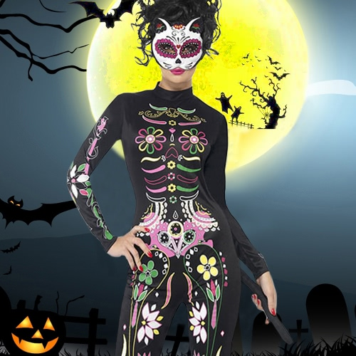 Women Halloween Cosplay Costume Bodysuit High Neck Sexy Role Play Jumpsuit Playsuit BlackApparel &amp; Jewelry<br>Women Halloween Cosplay Costume Bodysuit High Neck Sexy Role Play Jumpsuit Playsuit Black<br>