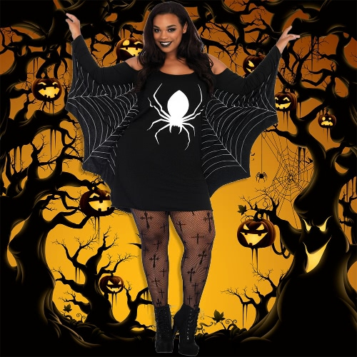 Women Plus Size Halloween Costume Spider Webbing Print Off Shoulder Wing Sexy Fancy Holiday Dress BlackApparel &amp; Jewelry<br>Women Plus Size Halloween Costume Spider Webbing Print Off Shoulder Wing Sexy Fancy Holiday Dress Black<br>