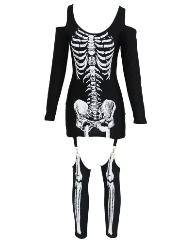 Sexy Women Mini Dress Skeleton Halloween Costume Cold Shoulder Long Sleeve Slim Masquerade Outfits BlackApparel &amp; Jewelry<br>Sexy Women Mini Dress Skeleton Halloween Costume Cold Shoulder Long Sleeve Slim Masquerade Outfits Black<br>
