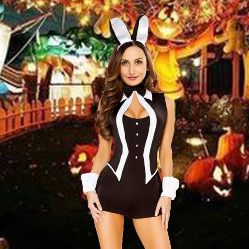 Sexy Women 5 Piece Tuxedo Bunny Costume Tux and Tails Halloween Cosplay Uniform BlackApparel &amp; Jewelry<br>Sexy Women 5 Piece Tuxedo Bunny Costume Tux and Tails Halloween Cosplay Uniform Black<br>