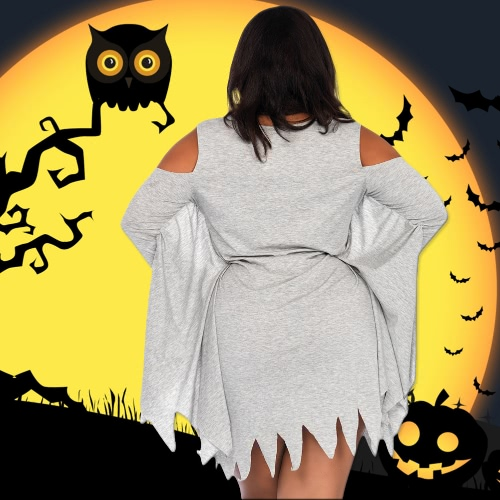 Sexy Women Plus Size Mini Dress Halloween Costume Ghost Print Cold Shoulder Batwing Masquerade Outfits GreyApparel &amp; Jewelry<br>Sexy Women Plus Size Mini Dress Halloween Costume Ghost Print Cold Shoulder Batwing Masquerade Outfits Grey<br>