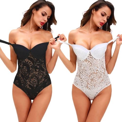 Hot Sexy Women Semi-sheer Mesh Lace Bodysuit Overalls Lingerie Sleepwear Nightwear White/Black