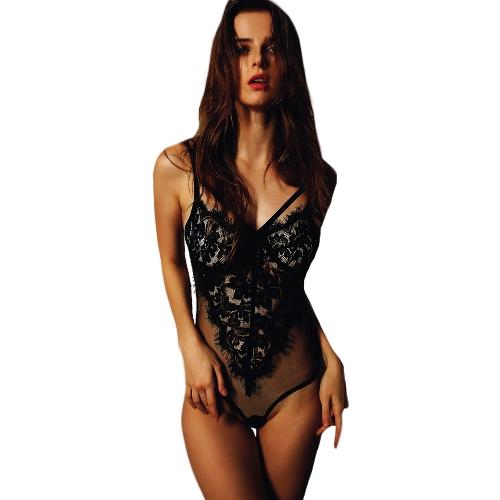 Sexy Women Lingerie Bra One Piece Sheer Lace Mesh Wireless Strappy Adjustable Straps Underwear Black/White