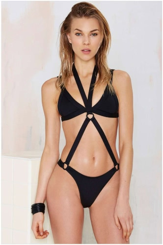 New Sexy Women Bikini One Piece Halter Wireless Bandage Strappy Plunge Bathing Suit Swimwear Swimsuits BlackApparel &amp; Jewelry<br>New Sexy Women Bikini One Piece Halter Wireless Bandage Strappy Plunge Bathing Suit Swimwear Swimsuits Black<br>