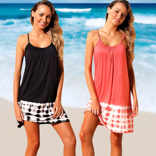 Women Summer Cover Ups Strappy Back Tie Dye Hollow Out Backless Bikini Cover Beachwear Black/Pink