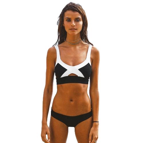 Sexy Mulheres Contraste Cor Bikini Set Backless Recorte Cintura Baixa Swimwear Swimsuit Praia Maiô