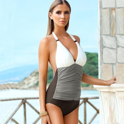 Sexy Women Gradient Halter Monokini Color Block Ruched Waist One Piece Swimsuit Bathing Suit