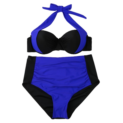Sexy Women Bikini Set Contrast Color Block Underwire Halter Top High Waist Bottom Beach Swimwear Swimsuit Bathing SuitApparel &amp; Jewelry<br>Sexy Women Bikini Set Contrast Color Block Underwire Halter Top High Waist Bottom Beach Swimwear Swimsuit Bathing Suit<br>