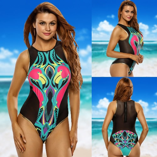 Sexy Women One Piece Bikini Cartoon Flamingo Print Wireless Padded Zipper Swimwear Swimsuits Monokini BlackApparel &amp; Jewelry<br>Sexy Women One Piece Bikini Cartoon Flamingo Print Wireless Padded Zipper Swimwear Swimsuits Monokini Black<br>