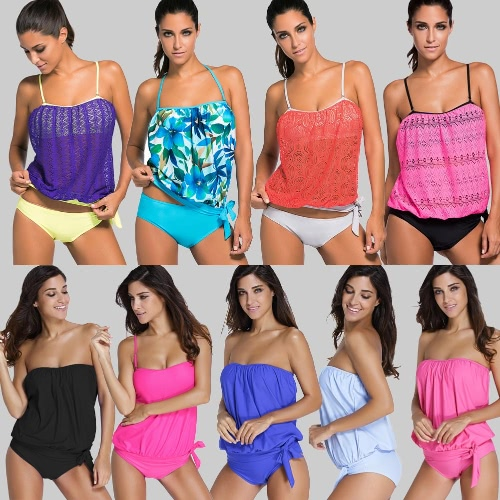 New Women Tankini Set Bandeau Bikini Swimsuit Removable Straps Padded Summer Swimming SuitApparel &amp; Jewelry<br>New Women Tankini Set Bandeau Bikini Swimsuit Removable Straps Padded Summer Swimming Suit<br>